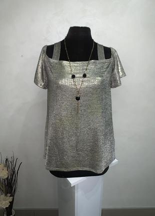 Блуза f&f 14uk l-xl серебряное напыление