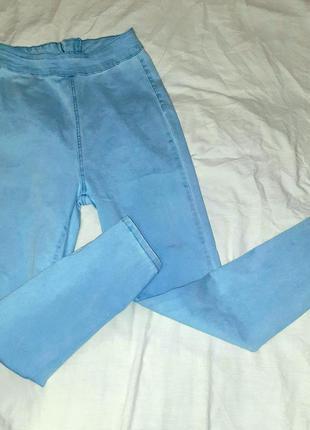 Эластичные стрейчевые джинсы джеггинсы узкие с высокой посадкой