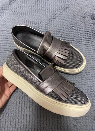 Слипоны натуральная кожа ботинки кеды лоферы демисезонные
