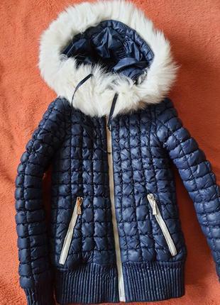 Куртка детская темно синяя холодная осень теплая зима размер 42