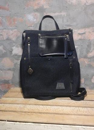 Натуральная кожа. рюкзак - сумка трансформер с застежкой - молния