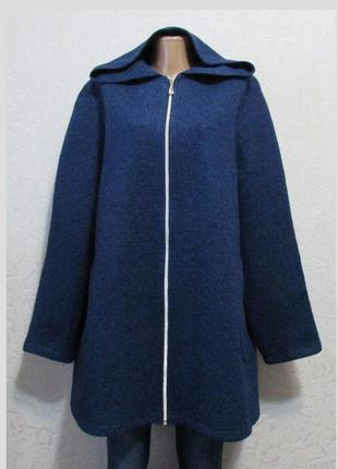 Модная ветровка кардиган шерсть букле пальтовая, синяя, большой размер!