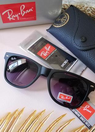 Модные чёрные брендовые солнцезащитные очки ray ban wayfarer