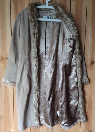 100%  кожа! натуральный плащ - пальто из замшевой кожи / р.44-46 /