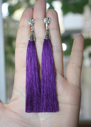 Серьги серёжки кисти кисточки фиолетовые длинные бохо с розочкой