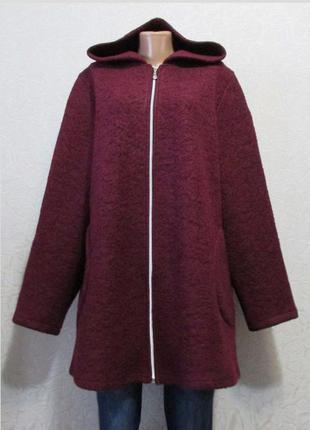 Модная ветровка кардиган шерсть пальтовая, бордо, большой размер!