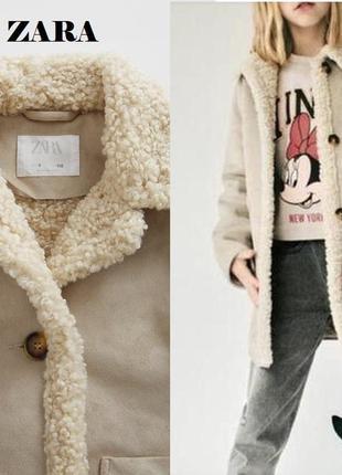Zara пальто мех под овчину  дубленка еврозима
