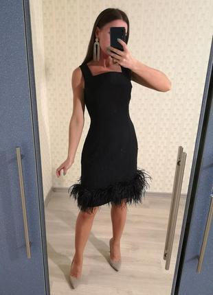 Нарядное вечернее платье с перьями страуса, чёрное платье, вечернее платье