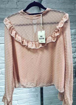 Стильная блуза трендовооо пудрового цвета в наличии италия