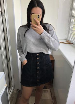 Чёрная джинсовая юбка спідниця с заклёпками