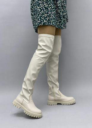 Кожаные+обувной стрейч женские ботфорты на тракторной подошве