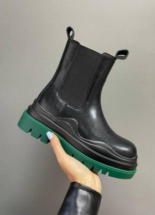 Ботинки bottega veneta boots green sole женские