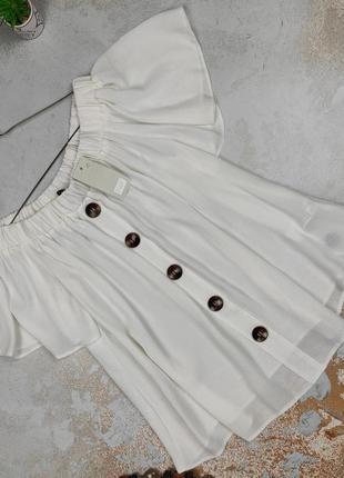 Блуза топ новая белая модная с красивыми пуговицами f&f uk 12/40/m