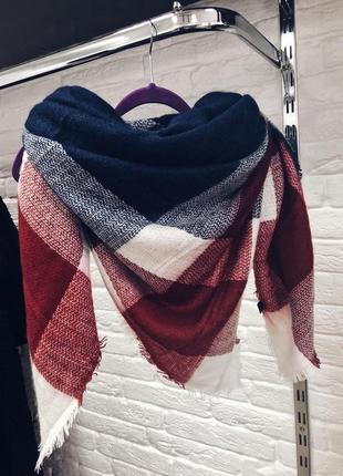 Стильный крутой шарф плед в наличии бордово -синий