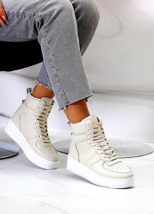 Женские светло-бежевые кроссовки-хайтопы
