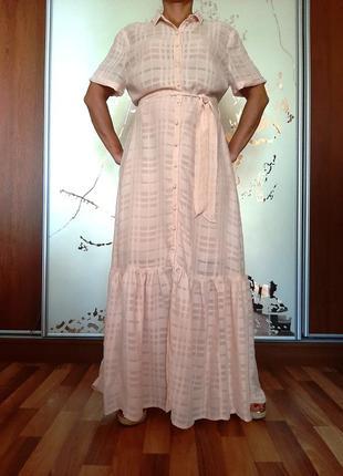 Нежнейшее персиково-розовое натуральное платье из 100% вискозы от emma willis