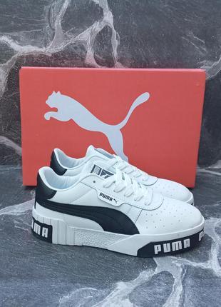Женские кроссовки puma cali белые.кожаные. осенние