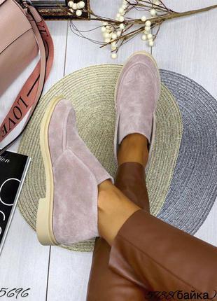 5696 замшевые туфли лоферы высокие в стиле лоро loro piana