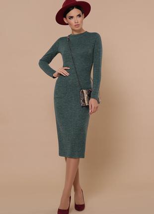 Облегающее зеленое платье цвета изумруд. шерстяное /трикотажное/ теплое