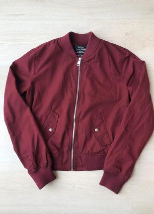 Бомбер bershka куртка курточка красная бершка бордовый красный марсала