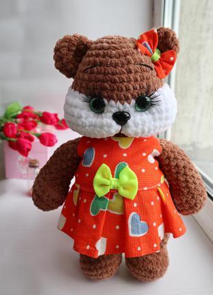 Мишка амигуруми в платье вязаная мишка хомяк