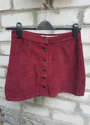 Вельветовая мини юбка  на пуговицах denim co