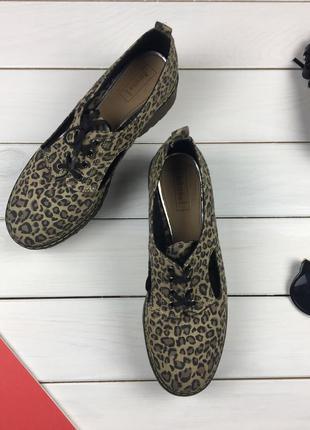 Стильные леопардовые туфли дерби на шнурках, лоферы, броги bershka