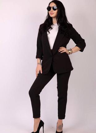 Женский стильный брючный костюм, длинный пиджак и брюки,классика см.замеры в описании