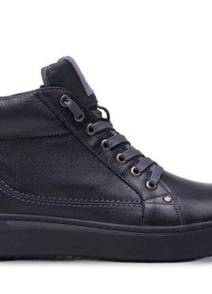 Мужские зимние кожаные ботинки  leather new beat black