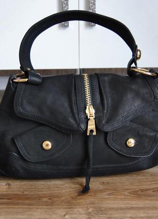 Кожаная сумка хобо багет dkny / шкіряна сумка