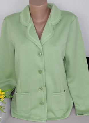 Брендовый салатовый пиджак жакет с карманами damart коттон этикетка