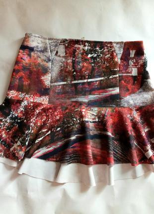 Брендовая юбка в принт осень волан оборка vicolo