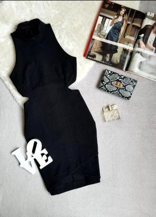 Скидка платье черное с вырезами по бокам topshop сукня чорна плаття вирізи