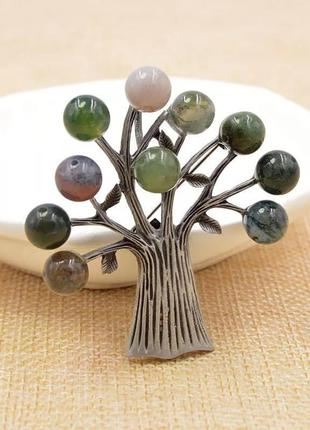Брошь значок дерево с камнями-бусинами/ большая распродажа!