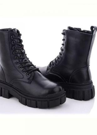 Кожаные черные ботинки на зиму / 100004