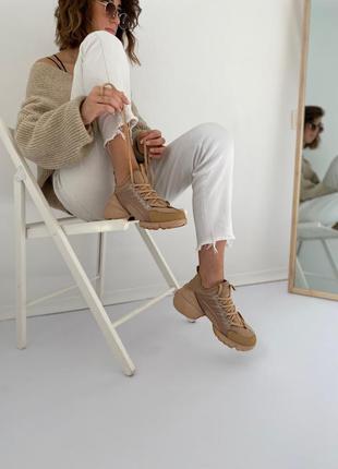 Бежеві кросівки зі взуттєвого текстилю  зі вставками силікону