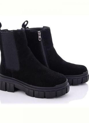 Черные замшевые ботинки на молниии по бокам стрейчевые резинки / 100005