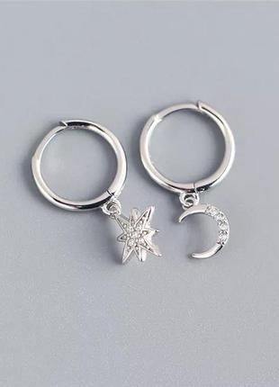 Серьги серебро 925 покрытие моно сережки колечки звезда луна