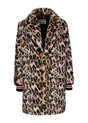 Леопардовое пальто для девочки gulliver