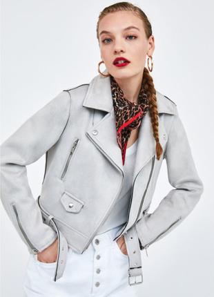 Стильная эко замшевая куртка косуха от zara basic
