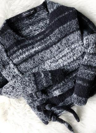 Свитер укороченный серый черный over size вязанный