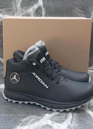 Мужские зимние ботинки jordan winter boots кожаные, черные
