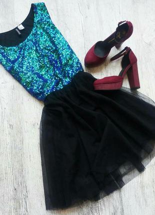 Нереальное платье с фатиновой юбкой в пайетки h&m 🍹