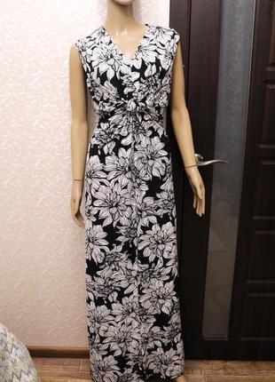 Шикарное длинное платье - сарафан в цветы 14-18 wallis