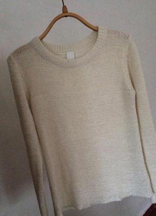 Красивый актуальный свитер h&m vila clothes свитшот бежевый молочный оверсайз