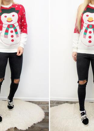 Новогодний свитер снеговик s-m-l