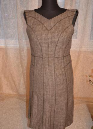 Теплый шикарный платье -сарафан, шерсть, клетка