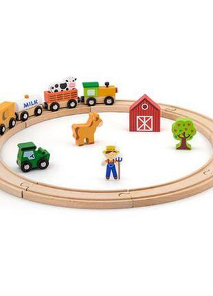 Деревянная железная дорога viga toys 19 эл. (рельсы, поезд, корова, лошадки, ферма, домик, трактор