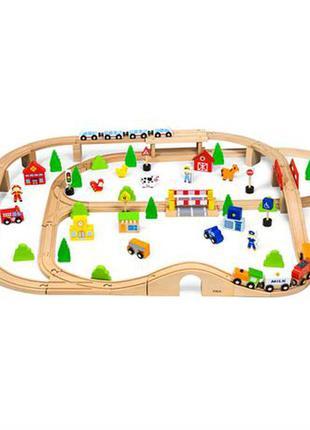 Деревянная железная дорога viga toys 90 эл. поезда, ферма, пожарная станция, школа, магазин, машинки