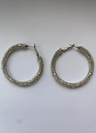 Серёжки кольца с бисером